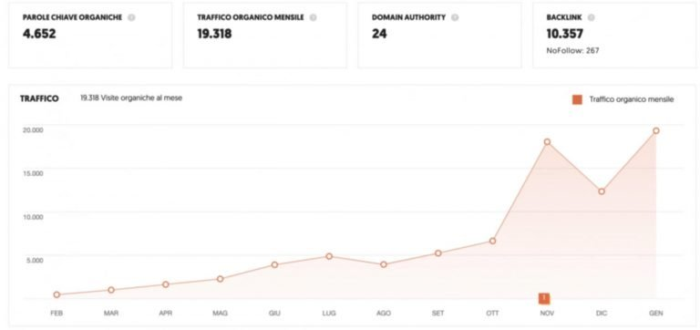 Risultati consulenze seo grafico aumento traffico